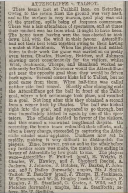 Attercliffe v Talbot dec 1879 Shef Daily Tel